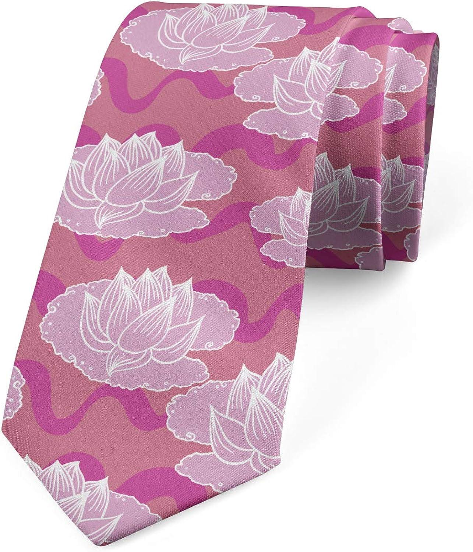 Ambesonne Men's Tie, Folklore Flowers, Necktie, 3.7