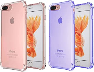 [2Pack]iPhone 7 Plus Case, iPhone 8 Plus Case, iEugen Crystal Clear Shock Absorption Technology Bumper Soft TPU Cover Case for iPhone 7 Plus (2016)/iPhone 8 Plus (2017) - blue+Clear