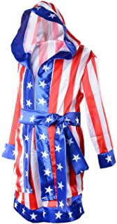 Child Boxing Costume Rocky Balboa American Flag Robe Kids Halloween Party Cosplay Loungewear with Shorts Belt Set