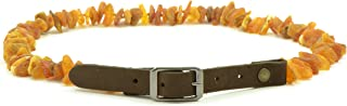 Amber Pet Collar with Adjustable Leather Strap for Dogs and Cats - Various Sizes - Raw (Unpolished) Baltic Amber Beads