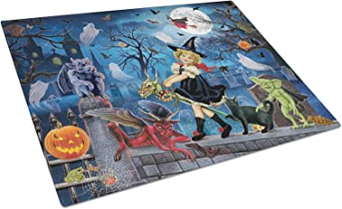 Caroline's Treasures Littlest Witch's Halloween Party Glass Large Cutting-Boards, 12H x 15W, Multicolor