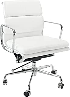 EMODERN FURNITURE eMod - Eames Style Softpadded Management Office Chair Reproduction Leather White
