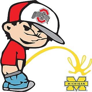 Ohio State Buckeyes Piss On Michigan Wolverines Calvin Sticker Decal Truck Vinyl Bumper Patch Laptop Window Car Logo Emblem (9