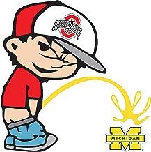 Ohio State Buckeyes Piss On Michigan Wolverines Calvin Sticker Decal Truck Vinyl Bumper Patch Laptop Window Car Logo Emblem (5.5
