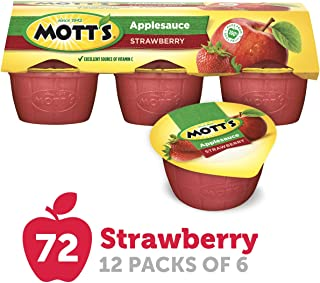Mott's Unsweetened Strawberry Applesauce, 3.9 oz cups, 6 count (Pack of 12)