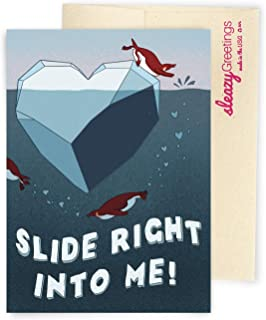 Sleazy Greetings Slide Right Into Me Penguin Dirty Birthday Card For Boyfriend From Girlfriend | Funny Valentine's Day | Naughty Anniversary Card For Husband From Wife With Matching Envelope