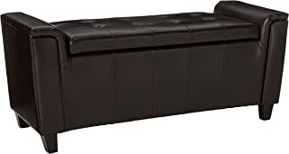 Christopher Knight Home Living James Brown Tufted Leather Armed Storage Ottoman Bench, 17. 50D x 45. 50W x 20.75H