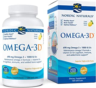 Nordic Naturals Omega-3D, Lemon Flavor - 690 mg Omega-3 + 1000 IU Vitamin D3-120 Soft Gels - Fish Oil - EPA & DHA - Immune...