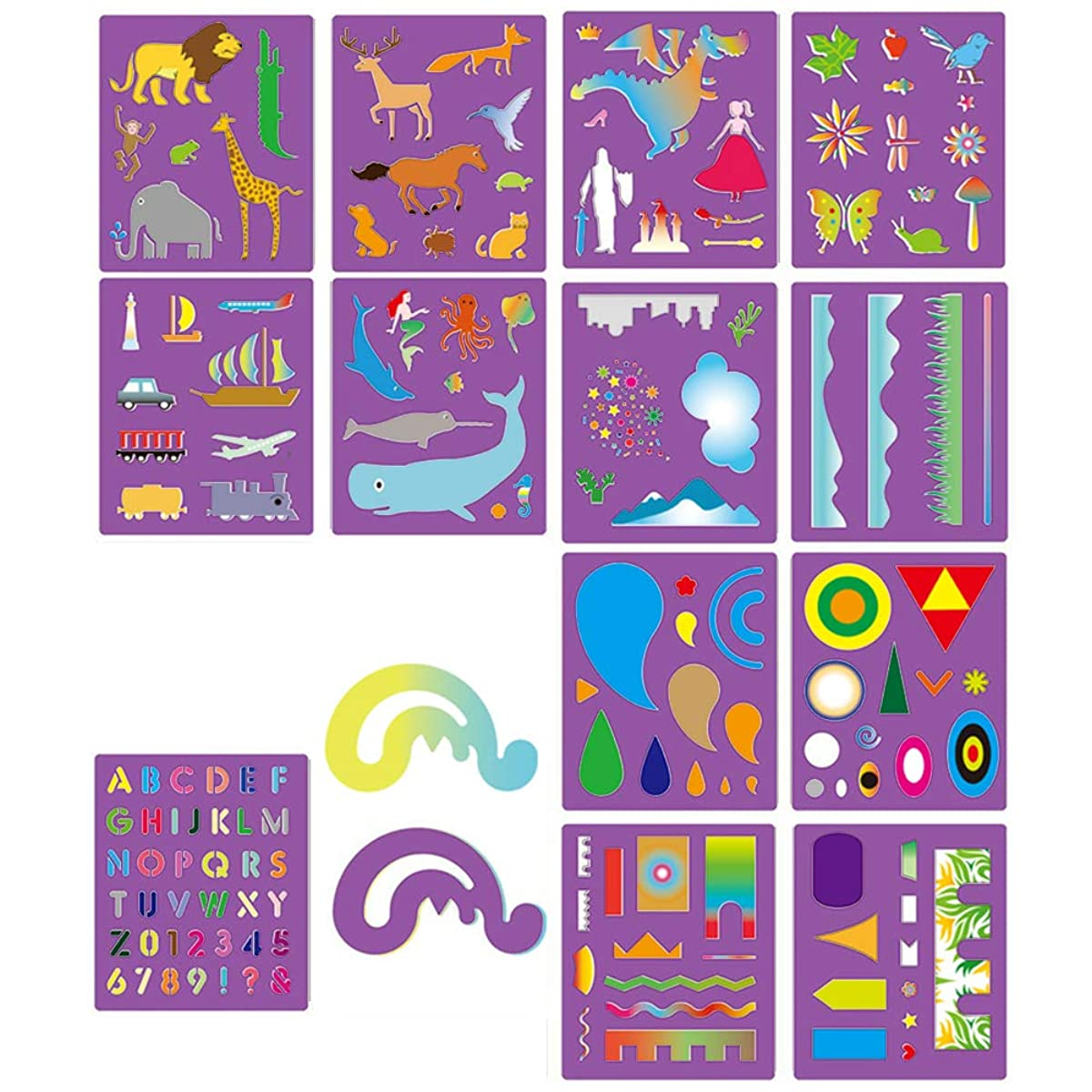 ZTWEDEN 14 Pcs Ultimate Stencil Set Bullet Journal Stencils Over 160 Different Patterns for Kids Ideal for Educational and Creativity Toy Painting Washable Template for Home or School