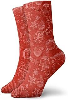 Hunter qiang, Los calcetines, hombres y mujeres se unen a la mano con un patrón rojo sin costuras con elementos navideños duros. Calcetines deportivos de 30 cm.