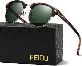 ff86c328cf82d FEIDU Retro Polarized Clubmaster Sunglasses for Men Half Metal Women FD3030