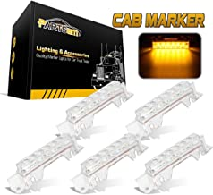 Partsam 5PCS Clear Lens 6LED Amber Cab Light Truck Trailer Top Cab Marker Roof Running Light Waterproof Reflective Lights Assembly Compatible with Volvo 2003+ VN/VNL Trucks