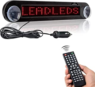 Leadleds Dc 12v Remote Led Car Sign Programmable Scrolling Message Sign Board for Car, Shop, Store (Red)