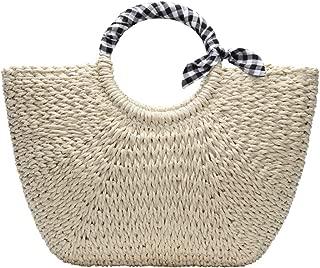YOUNG-X Handmade StrawHobo Tote Natural Vintage Bag Women Round Handle Ring Rattan Retro Woven Handbag Summer Beac