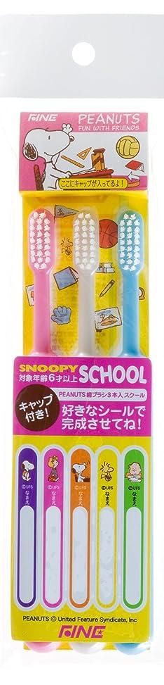 大使露出度の高い混合したピーナッツ スクール 歯ブラシ 3本組 キャップ付 6歳以上