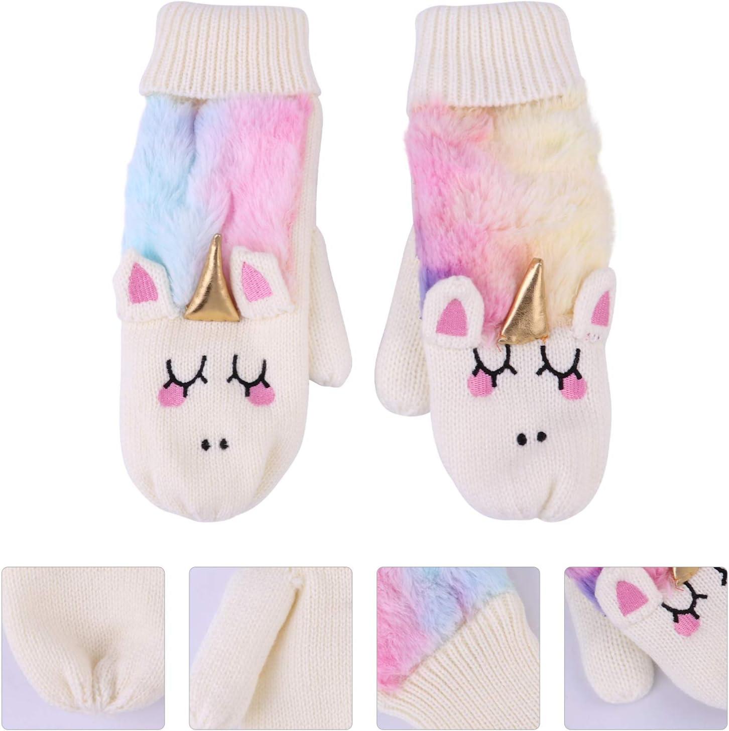 VALICLUD 1 Pair Unicorn Mitten Gloves Tie Dye Winter Gloves Warm Lining Cozy Knit Faux Fur Rainbow Mitten