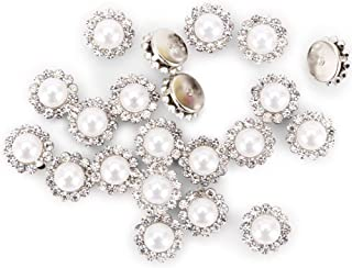 200Pcs Crystal Pearl Buttons, Round Flatback Rhinestone Beads Buttons with Diamond, DIY Craft Sewing Fasteners Accessories for Jewelry Making, Clothes, Clothing, Bags, Shoes, Wedding Dress 10mm