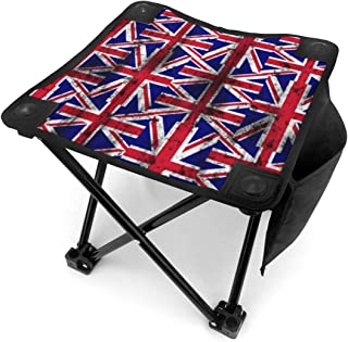 Jinitami Camping Stool Folding Distressed UK British Flag Portable Chair Camping Hunting Fishing Travel with Carry Bag