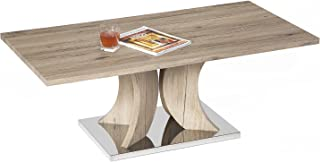 Mango Steam Hanford Coffee Table - Cypress Tan - Wood Textured Legs and Top and Stainless Steel Base