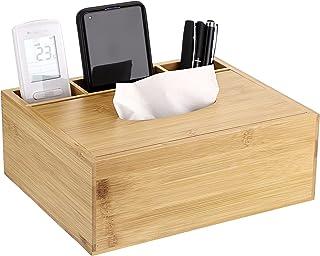 Sumnacon Bamboo Rectangular Tissue Box Cover - Multifunctional Tissue Holder with Stationery Remote Control Box, Decorativ...