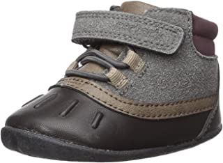 Carter's Every Step Boys' Stage 2 Stand, Jonah-SB Fashion Boot, Grey/Dark Brown, 4.5 M US (9-12 Months)