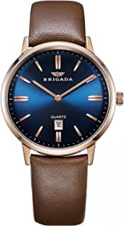 BRIGADA Swiss Brand Men's Dress Watches for Mature Men, Nice Business Casual Comfortable Leather Blue Brown Men Watches Waterproof with Date Calendar