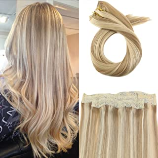 Moresoo 18 Inch 80 Grams Hair Extensions Halo Real Human Hair Extensions #14 Honey Blonde Mixed with #613 Bleach Blonde Hair Extensions Crown Hair Pieces for Women