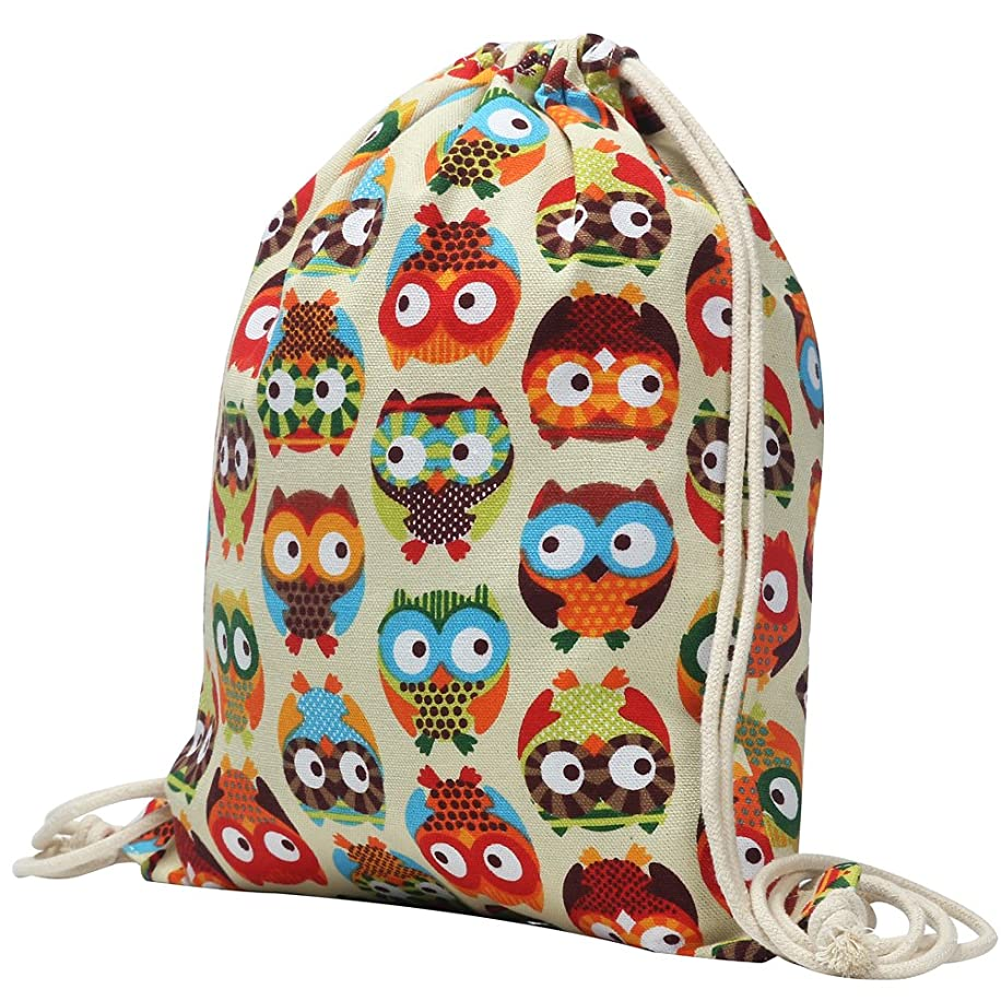 Canvas Backpack Drawstring Bag Men and Women Rucksack 1612 Inches (owl)