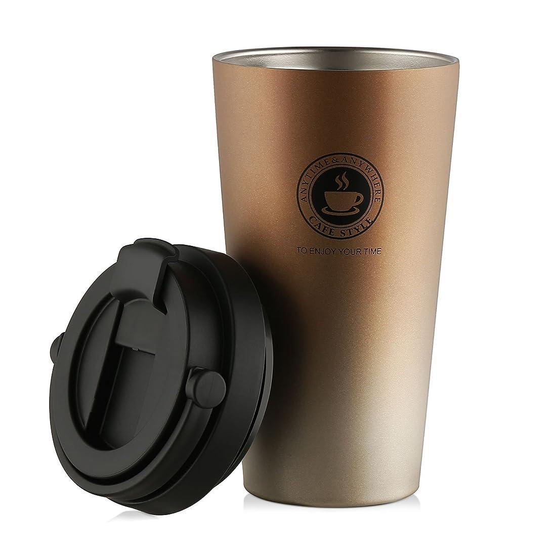 私達不屈請願者SEPT MIRACLEファッショントラベルタンブラー二重壁食品グレードステンレススチールコーヒーマグ真空断熱水ボトル[500 ml] (金)