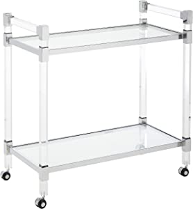 Christopher Knight Home 304602  Hilary Modern Glass Bar Trolley in Clear