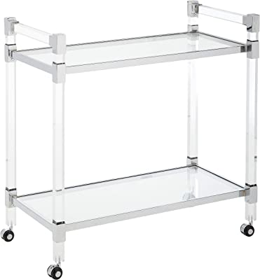 Christopher Knight Home Hilary Modern Glass Bar Trolley in Clear
