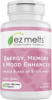 EZ Melts Energy Memory & Mood Enhancer, Methylated B-Complex, Sublingual Vitamins, Vegan, Zero Sugar, Natur...