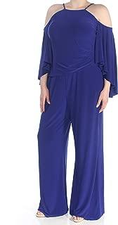 RALPH LAUREN Womens Blue Cold Shoulder Wide Leg Jumpsuit US Size: 18