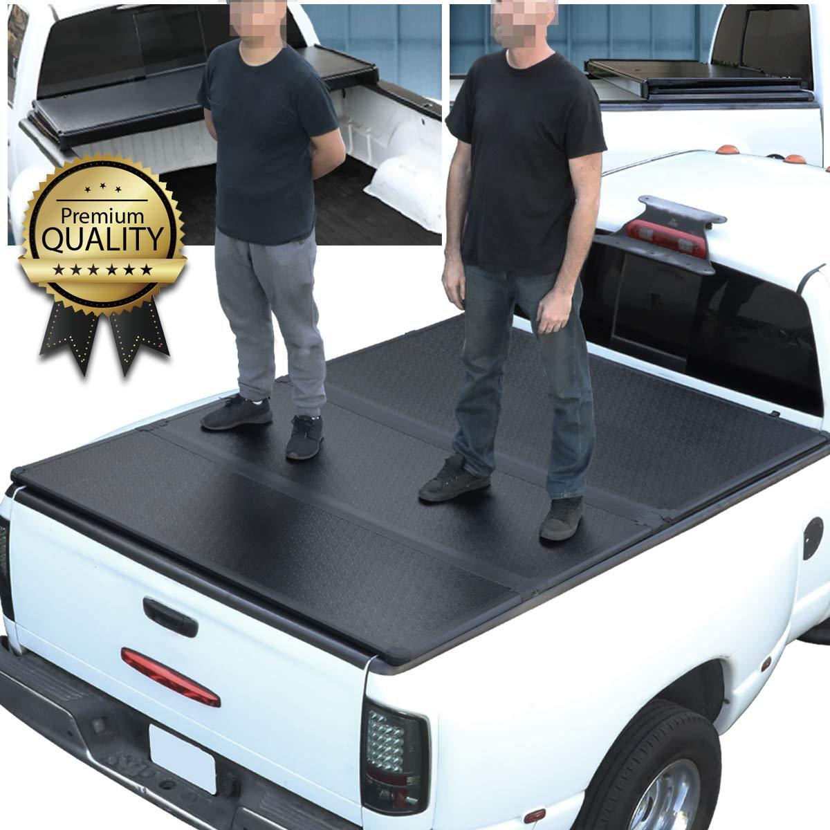 Amazon Com Hard Solid Tri Fold Tonneau Cover Replacement For Dodge Ram Truck 1500 2500 3500 Fleetside 8 Ft Long Bed 02 09 Automotive