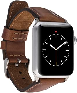 Padded Luxury Leather Watch Band Strap for Apple Watch 38 mm and 40 mm, Replacement with Adapter Clasp for Series 1 & 2 & 3 and Series 4, Handmade with Genuine Turkish Leather (Burnished Tan)