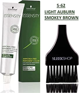 Schwarzkopf ESSENSITY Ammonia-Free PERMANENT HAIR COLOR (with Sleek Tint Applicator Brush) Haircolor with Phytolipid Technology (5-62 Light Auburn Smokey Brown)