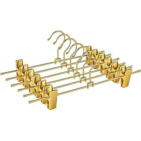 Amber Home ゴールドズボンハンガー 12本組 スカートハンガー スチールハンガー ボトムス パンツ スラックス タオル用 金属 メタル 耐用性 調節可能クリップ コンパクト 滑り止め 幅30cm