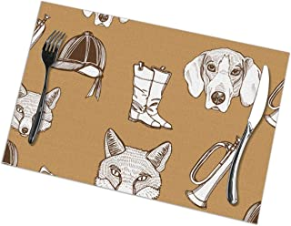 shirt home Placemats Set of 6,Vintage English Traditional Foxhunting Animals Wil Heat-Resistant Placemats Washable Table Mats for Kitchen Dining Table 12X18 Inch