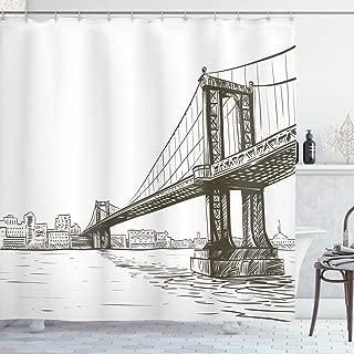Ambesonne New York Shower Curtain, Digital Drawn Brooklyn Bridge Unusual Graffiti Style Old Urban Cityscape Print, Cloth Fabric Bathroom Decor Set with Hooks, 70