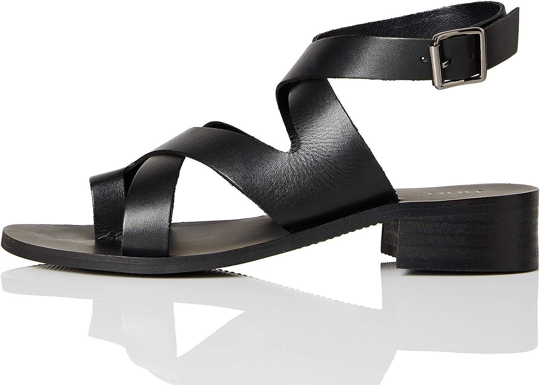 Viola Marchio FIND Crossover Block Heel Leather Sandali a Punta Aperta Lilac Croc 41 EU