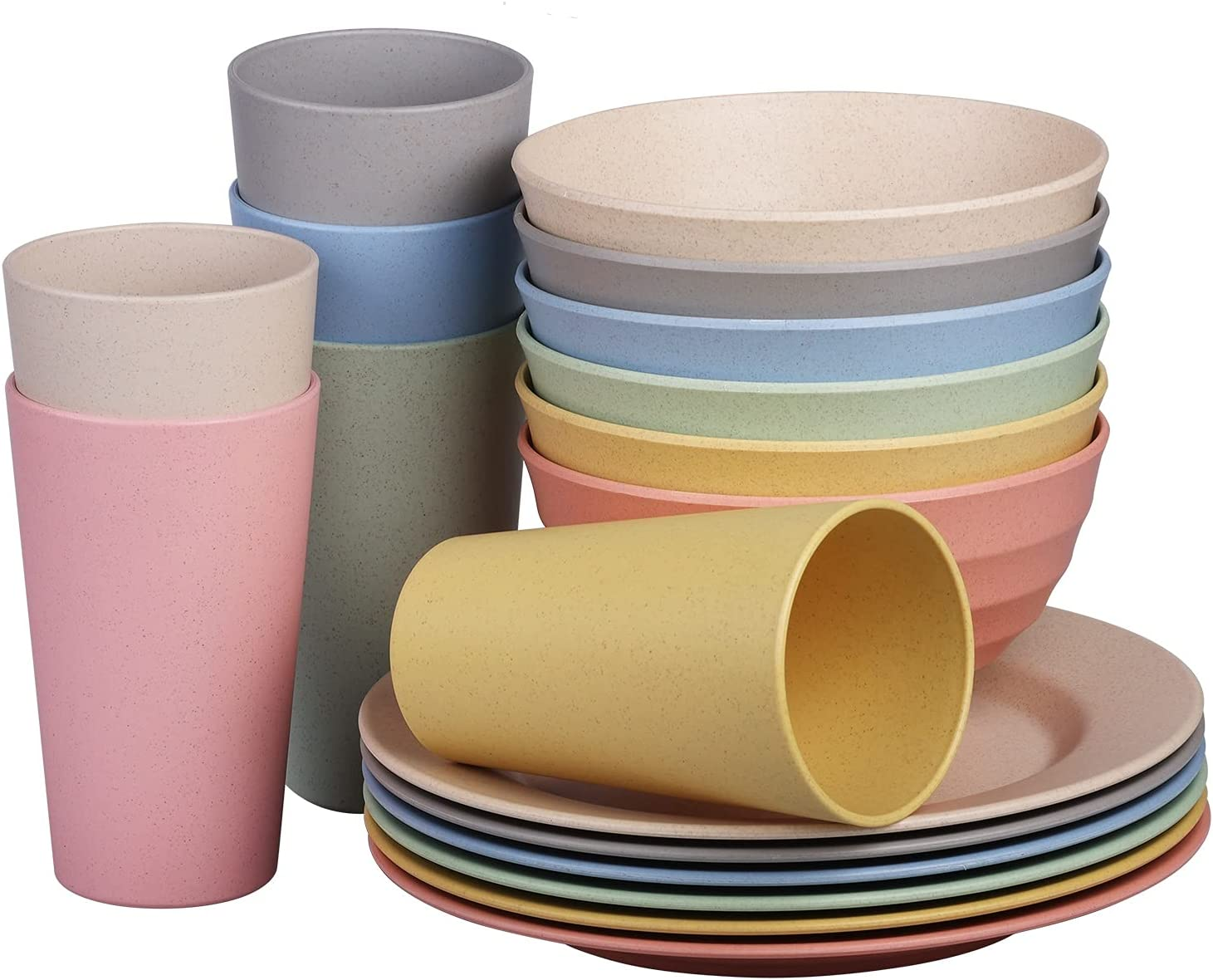 Cainfy Wheat Straw Plastic Dinnerware Cer Set 6 New mail order Unbreakable 5 ☆ very popular for