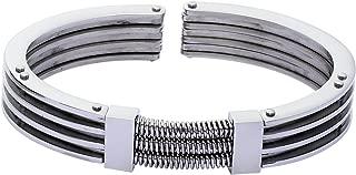 Bracelet Homme Unique Men Cuir Noir A40BL//21CM 21 cm Acier Inoxydable