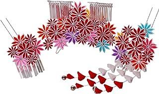 七五三髪飾りかんざし 赤レッド つまみ細工[ 子供 着物 和装 花簪 正月 7歳 753]