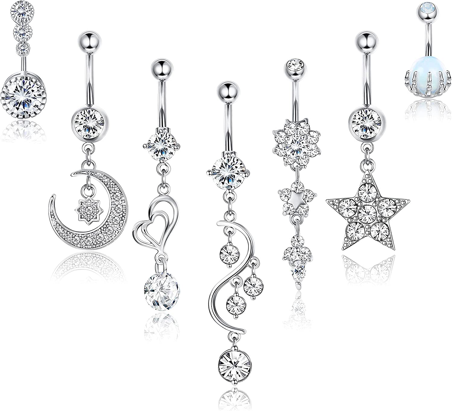 Jstyle 7Pcs 14G Belly Button Rings Dangle for Women Surgical Steel Navel Rings Barbell CZ Inlaid Moon Star Butterfly Body Piercing Jewelry