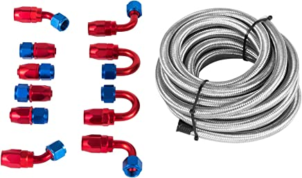 Fuel Systems AN6-6AN Nylon Braided Oil Fuel Line Fitting Hose End Adaptor KIT 10pcs Red Parts & Accessories