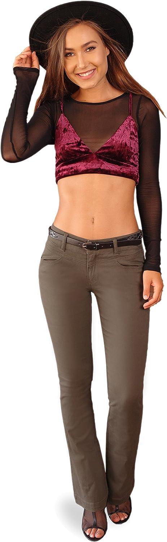 Bebop Women's Bootcut Pant, Stretch Cotton Twill, Removable Belt