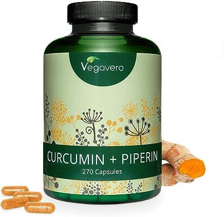 CURCUMINA e PIPERINA Vegavero® | MAXI Confezione: 270 capsule | TITOLATO al 95% | Registrato al Ministero della Salute | Vegan