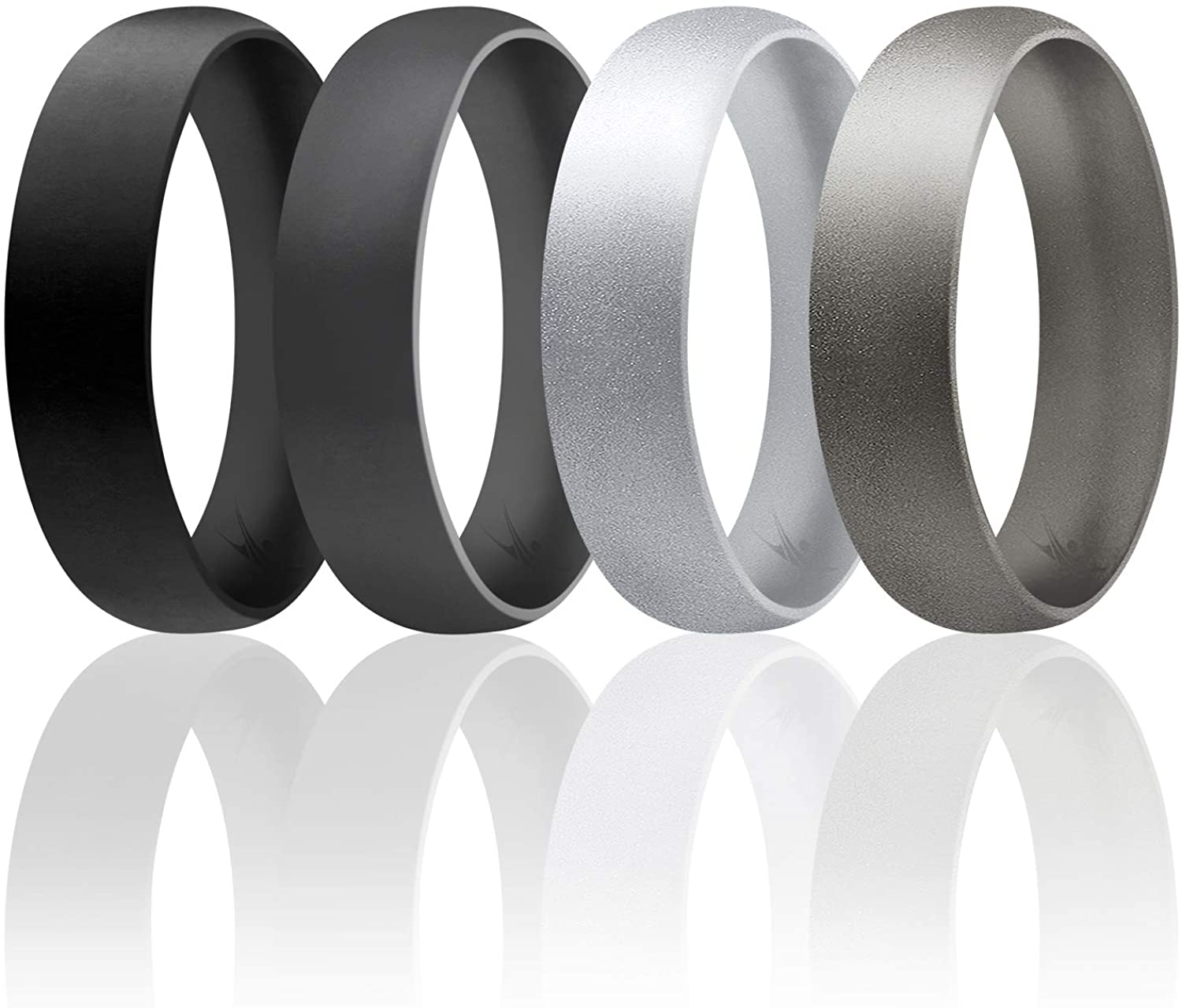 White ROQ Silicone Wedding Ring for Men Black Grey Singles 4 /& 7 Packs Comfort Fit Affordable 6mm Metallic Silicone Rubber Wedding Bands Blue Silver