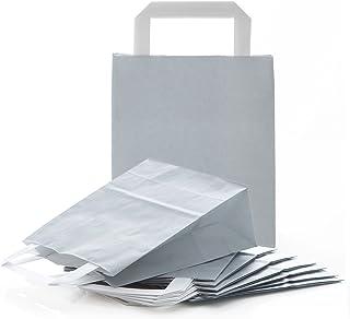 Logbuch-Verlag 10 GRAU SILBER Geschenktüte Geschenktasche Papiertasche Papiertragetasche mit Henkel 18 x 8 x 22 cm Geschen...