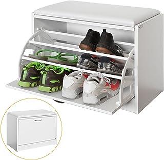 SoBuy Armario Zapatero Taburete Puff Caja Banco Estantería para Zapatos Chifonier FSR16-W ES (Zapatero)